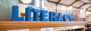 "the word ""literacy"" spelled out in letter-shaped blocks on top of a library shelf"