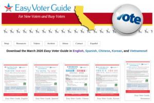 screenshot of Easy Voter Guide.org website